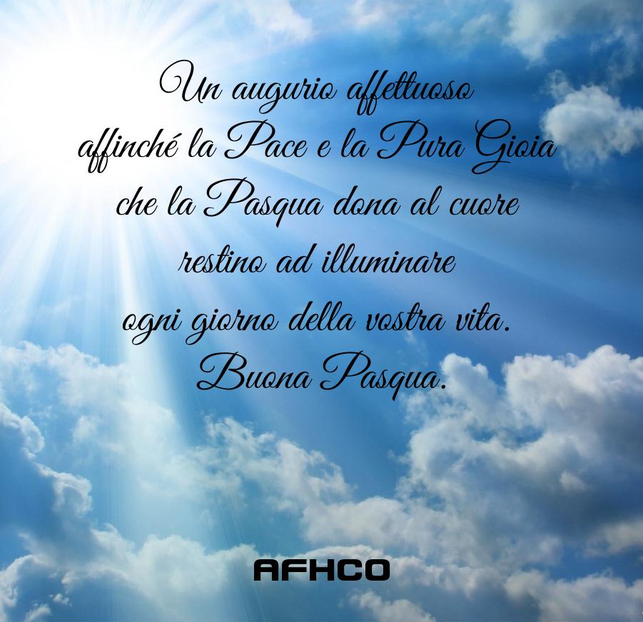 Un augurio affettuoso affinché la Pace e la Pura Gioia che la Pasqua dona al cuore restino ad illuminare ogni giorno della vostra vita. Buona Pasqua dall'associazione AFHCO